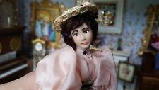 Miniature Dollhouse Artisan Porcelain Lady in Victorian Day Outfit