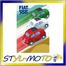 FIBB03 FIAT 500 LOCANDINE IN LATTA CM 30X40 TRICOLORE 500/FIAT UFFICIALE ORIG