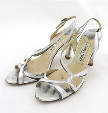 Jimmy Choo Sandale 36,5 silber high heels Leder pumps