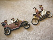 HOMCO 1975 Vintage PAIR WALL PLAQUES - BICYCLE for TWO & OPEN ANTIQUE AUTOMOBILE