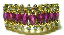 EFFY BH 14K YELLOW GOLD MARQUISE RUBY DIAMOND THREE TIER RING BAND SIZE 7.75