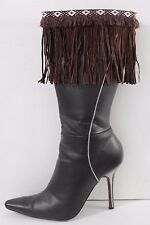 Women Western Brown Boot Topper Cover Faux Suede Leather Long Fringe Winter Pair