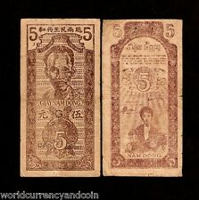 VIETNAM 5 DONG P10e 1947 RARE DAN CHU CONG HOA HO CHI MINH CURRENCY MONEY NOTE