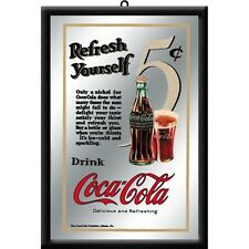 COCA COLA for 5 cent nostalgia barspiegel SPECCHIO MIRROR BAR 22 x 32 cm