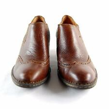 Born Women Brown Leather Wingtip Ankle Booties US Shoe Size 9.5