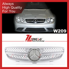 Silver W209 Grill Grille 1 Fin Sport Front CLK with star For Benz '2003-2010