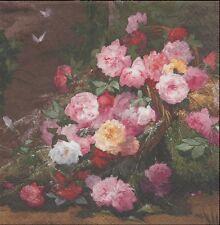 2 Serviettes en papier Panier de Roses - Paper Napkins Flower Country Roses