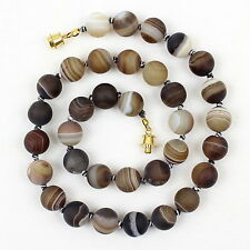 """12mm Banded Agate Necklace 12 mm Brown Striped Agate 20"""" Hand Knotted Frosted"""