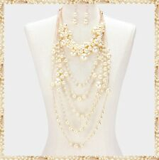 Two Piece Multi Strand Faux Pearl Metal Chain Bead Beaded Necklace Chunky NEW