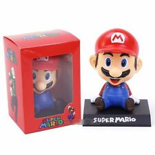 Super Mario Action Figure Nintendo Bros Bobblehead New Toy Pvc Car Kids Gift Box