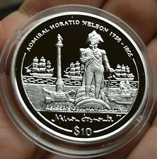 2005 British Virgin Is. Large Proof Silver $10- Admiral Nelson/Column