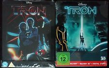 NEW Tron Embossed UK Exc+Tron Legacy 3D Ger Exc 2xG2 Blu Ray Steelbook sealedOOP