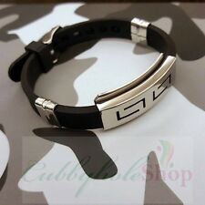 Cubbyhole24 Slippy Hollow Men's Silicone-Stainless Steel Belt Bracelet