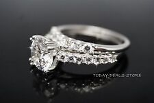 3.12CTW Wedding Rings Set Engagement Wedding Band Solitaire Real White gold 14K
