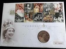 2003 B/U UK £5 COIN SET IN A ROYAL MINT + ROYAL MAIL PNC QUEEN'S CORONATION