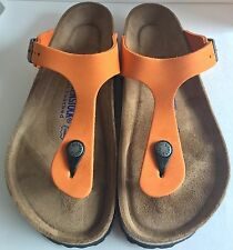 Birkenstock Gizeh 847611 size 39/L8-8.5R Orange Nubuk Thong Soft Footbed Sandals