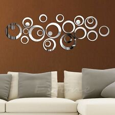 Fashion removable vinyl art mirror circle wall sticker prints