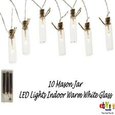 BATTERY OPERATED GLASS BOTTLE MASON JAR LANTERN FAIRY STRING  LIGHTS INDOOR
