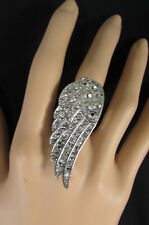 New Women Silver Ring Metal Elastic Band Fashion Angle Wing Bird Rhinestones