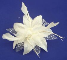 CHIFFON FLOWER AND FEATHER HAIR FASCINATOR ON CLEAR COMB - VARIOUS COLOURS