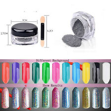 2g Holographic Laser Glitter Rainbow Powder Nail Art Gel Chrome Pigments