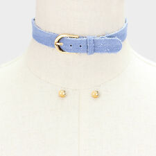 "12"" blue jean denim buckle choker collar bib necklace .30"" earrings .75"" wide 18"