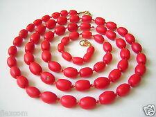 Korallenkette Kette Koralle Rot Olivenform 585 Gold Magnetverschluß 64,3 g Coral