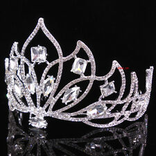 8cm High Adult Big White Clear Full Crystal Tiara Crown Wedding Pageant Prom