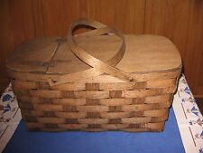 VINTAGE PICNIC BASKET SPLIT WOOD WOVEN  LARGE SIZE SWING HANDELS