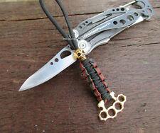 Paracord Lanyard Skull und Schlagring -Schlüsselanhänger Taschenmesser Luxus��#