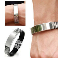 Cool Mens Silver Stainless Steel Black Leather Cuff Bangle Bracelet Wristband W8