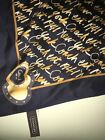 COACH CLASSIC SILK SIGNATURE SQUARE Neck Or Ponytail Bag SCARF Monogram Navy
