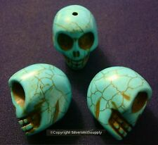 3 Huge turquoise howlite skulls bead 30x30x24mm drilled top to bottom fpb171b