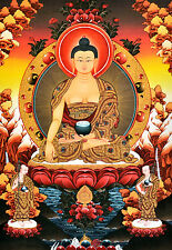 """16"""" BLESSED NATURAL MINERAL COLOR TIBETAN THANGKA: BUDDHA & TWO DISCIPLINES"""