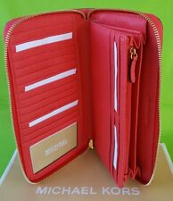 NEW Michael Kors Jet Set Large Travel Zip Wallet Leather in CORAL REEF.