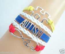 Infinity Love/AUTISM/Puzzle Sign Charms Suede Leather Braided Bracelet -rainbow