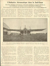 33 BORDEAUX MERIGNAC ARTICLE PRESSE INDUSTRIE AERONAUTIQUE DYLE & BACALAN 1929