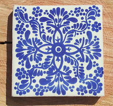 "90~Talavera Mexican tile 4"" pottery hand painted Cobalt Blue and white Veronica"