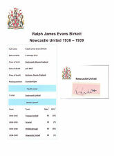 RALPH BIRKETT NEWCASTLE UNITED 1938-1939 VERY RARE ORIGINAL HAND SIGNED CUTTING