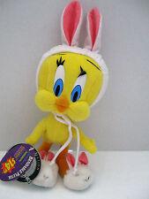 """Warner Bros Looney Tunes Tweety Bird Bunny Ears & Slippers Plush 1997 14"""" EUC"""