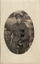 WW1 Soldier Royal Sussex regiment 1x Good Conduct Stripe holds walking stick