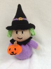KNITTING PATTERN - Halloween Witch holding pumpkin orange cover / 20 cms toy