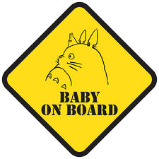 Totoro BABY On Board/Bebe a bord customize Car Yellow Safety Sign #2