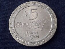 "$5 CASINO TOKEN -- PRIMM VALLEY GOLF CLUB RESORT -- NEVADA -- ""OBSOLETE"""