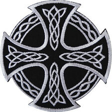 """CELTIC CROSS (Black & White) EMBROIDERED PATCH 7CM X 7CM (2-3/4"""")"""