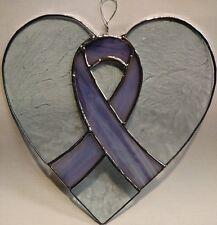 Purple Support Ribbon Heart Shaped Suncatcher