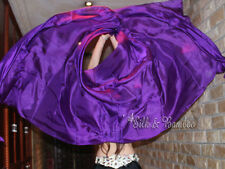 "plain purple 3yd*45"" belly dance silk veil+bag, light 5mm silk, edges rolled"
