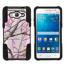 Samsung Galaxy Grand Prime Gel Shell Black Stand  Hard Case Pink Hunters Camo