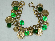 Gold Tone Faux Coin Charm Link Bracelet Green beads
