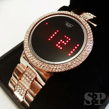 Hip Hop Iced Out Digital Touch Screen Rose Gold Lab Diamond Smart Metal Watch